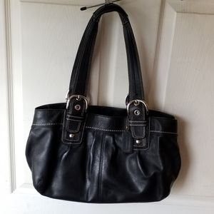 Coach black leather pleated Soho Tote